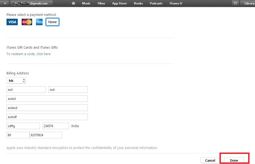 Enter valid billing info in iTunes account section