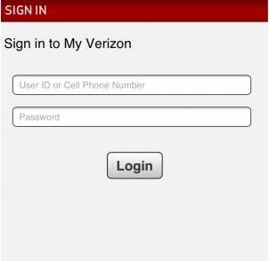 Login screen for iPhone Verizon app