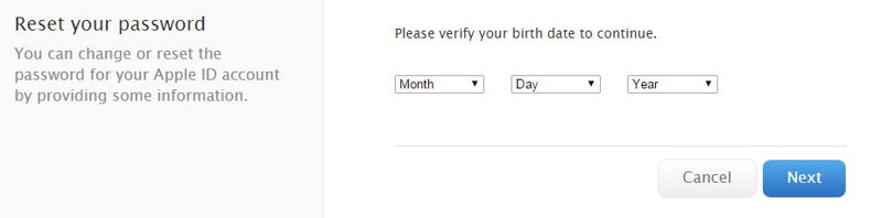Enter valid Birth date for Apple id recovery