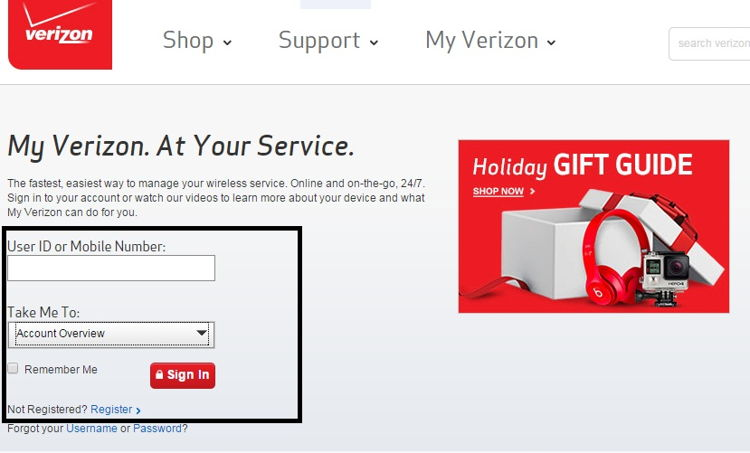 Verizon login screen from your browser to check your account details