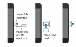 Insert nano or micro SIM in iPhone side bar