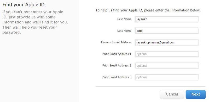 Submit all the criteria to fetch correct Apple ID