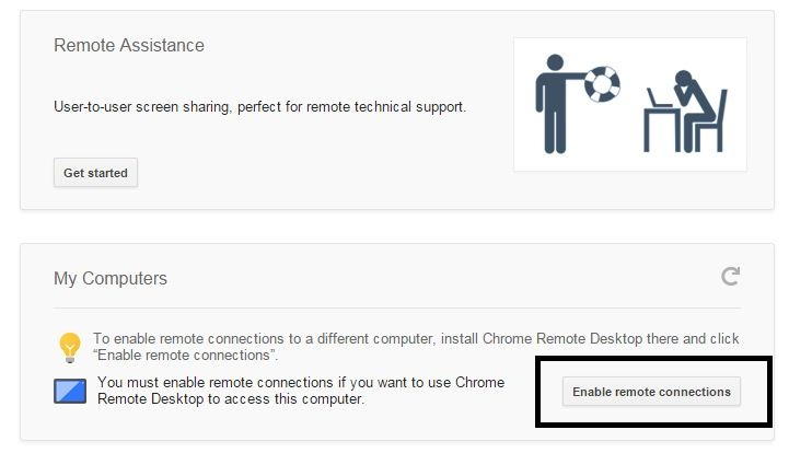 Start remote access on google chrome