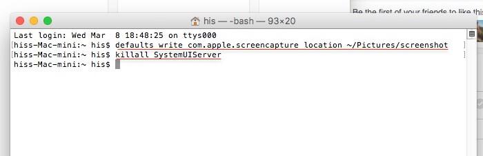 Command for change save screenshot path on Mac (1)