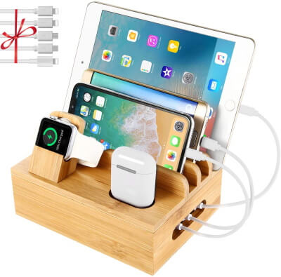 Bamboo Wooden Charging Station for iPhone, iPad, Apple Watch