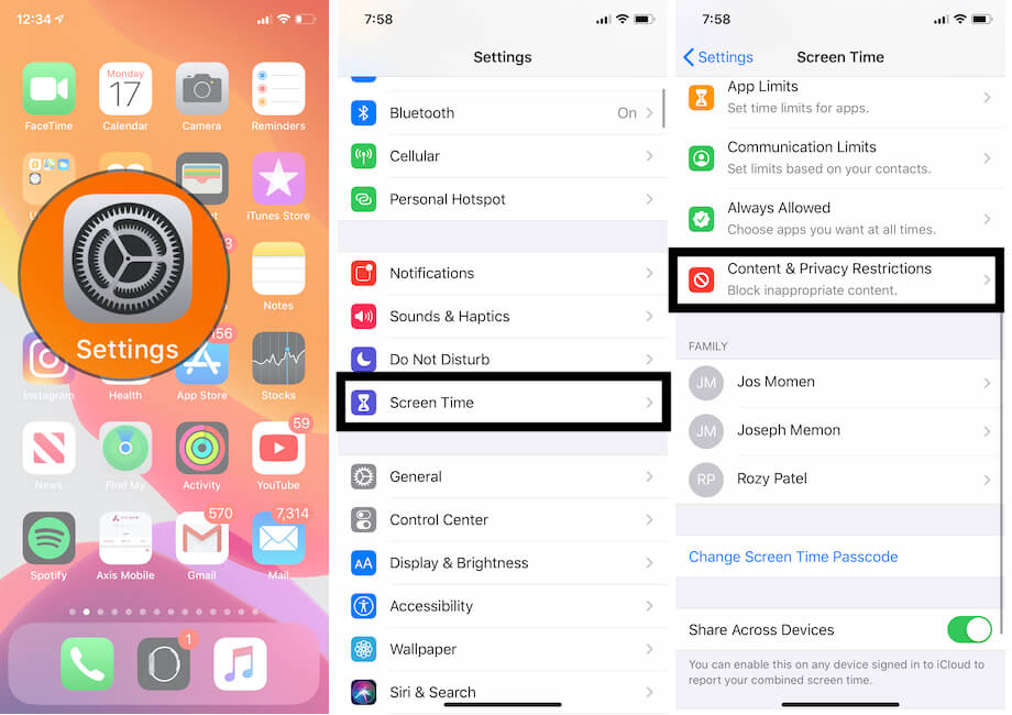 Camera Restrictions under the screen time on iPhone