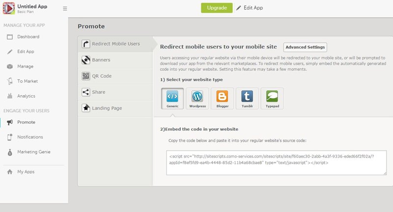 Choose setup of your website type and integrate with app
