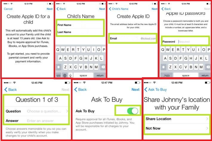Create apple ID for your child in iPad and iPhone