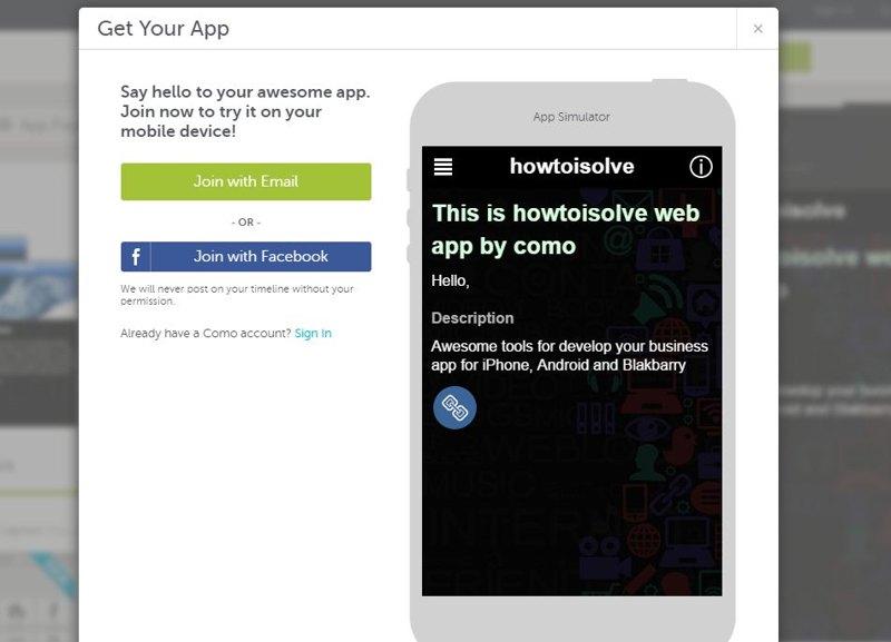 Verify and get como app setup
