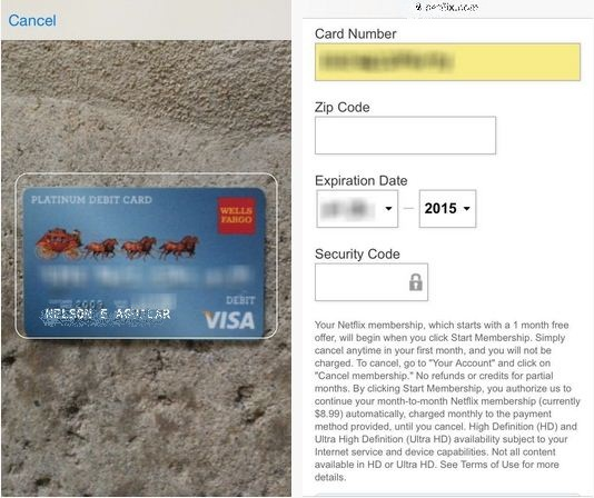 Get scanned credit card data on safari