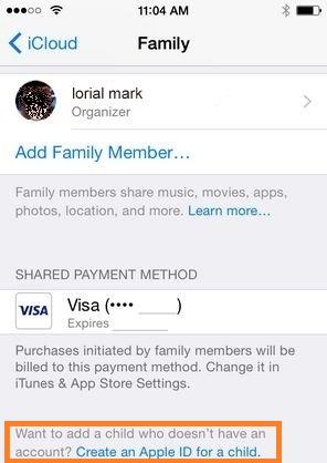 start child ID in iPhone screen