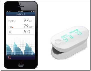 blood oxygen saturation and pulse rate monitor compatible with iPhone