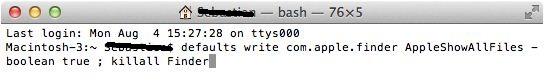 Show hidden folder inside the finder windows on Mac Yosemite