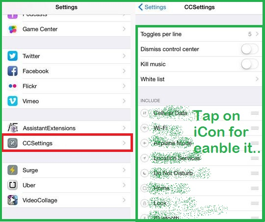 Increase app icons in control center from iPhone, iPad