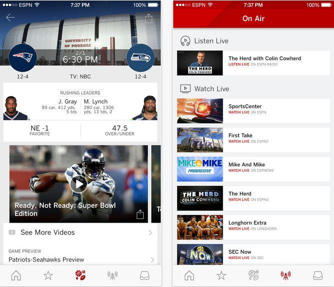 ESPN Sports App for iPhone, iPad on iOS