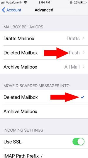 7 Deleted Mail under advance for mail app on iphone