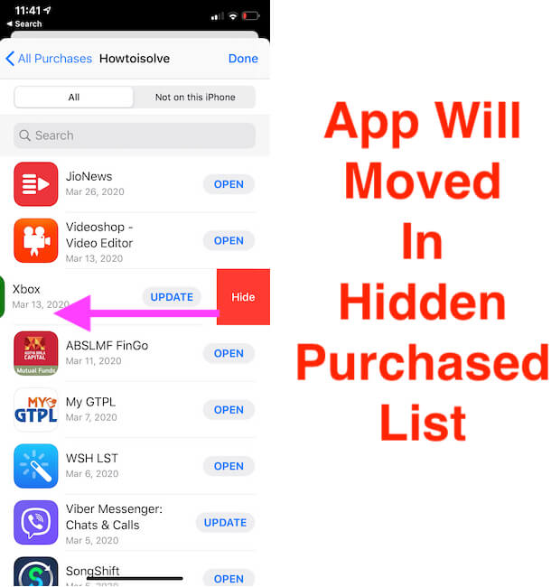 Hide Purchased app from App Store