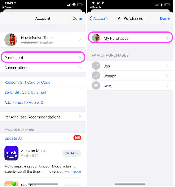 Manage Purchased apps list on iPhone from app store