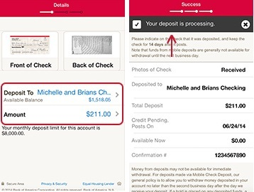 Deposit Checks Bank of America on iPad