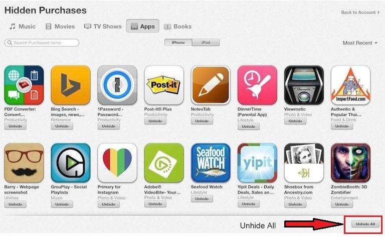 Tap on Unhide Button to view hidden items or apps on iPhone or iPad