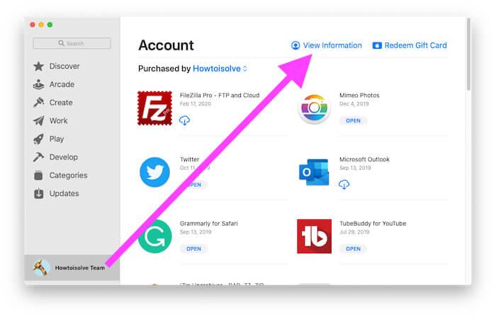 View Account information on MacBook Mac App Store