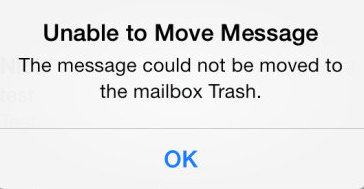 fix Unable to Move Message to trash error on iPhone 6