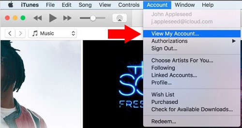 1 Account option in iTunes on Mac