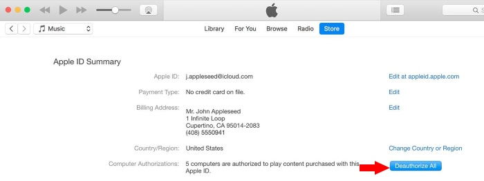 2 Deauthorize All computer on Mac from iTunes store