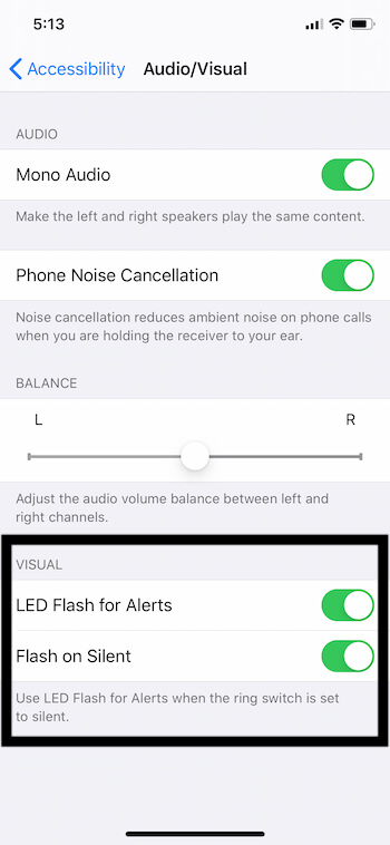 Enable LED Flash For Alerts for iPhone also Enable Flash on Silent toggle
