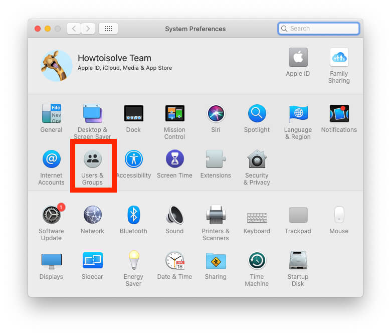 Users and Groups on Mac System Preferences settings