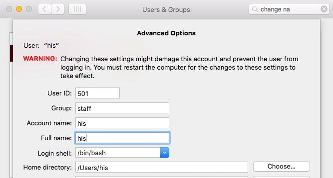 Update or change admin full name on OS X Mac