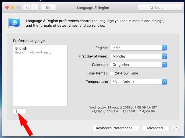 1 Add New Language on Mac