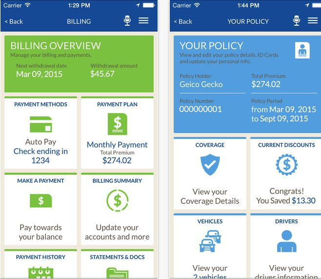 GEICO insurance app for all category and activate on iPhone