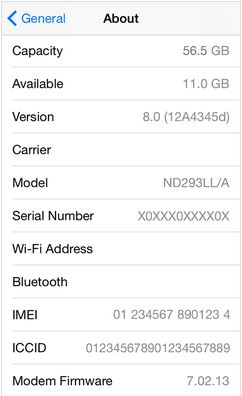 IMEI and Serial number on Apple Device on iOS 8/ iOS 7
