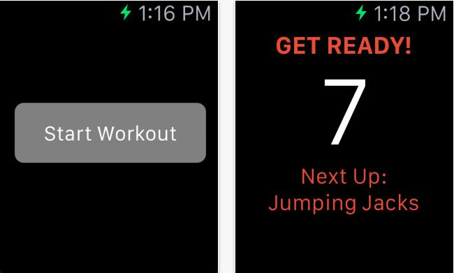 Workout monitoring app for Apple watch