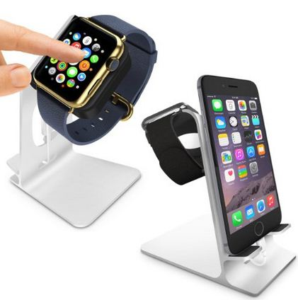 Dual use of apple watch and iPhone dock stand