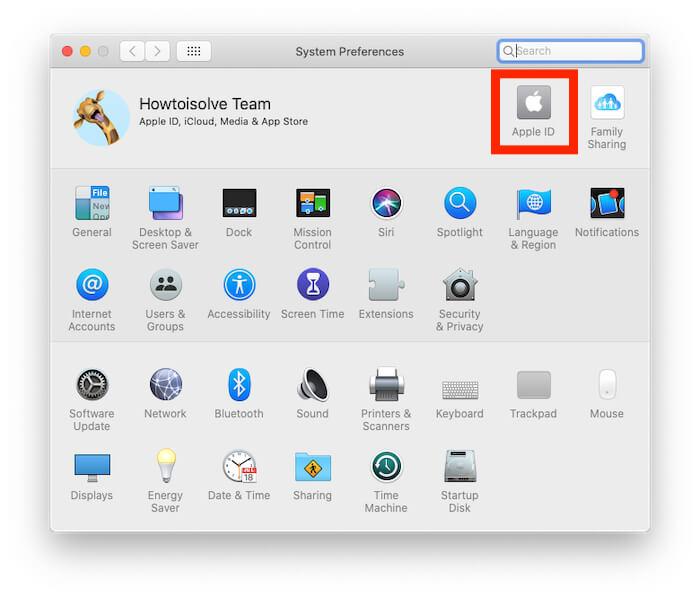 Apple ID account settings on Mac