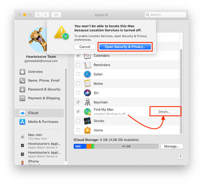 Location Service is off error on Find My Mac Enable