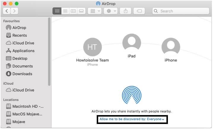 Turn on AirDrop on Mac