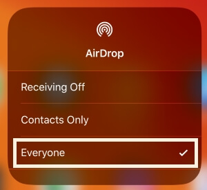 Turn on AirDrop on iPhone