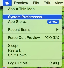 System preference for Mac OS X Yosemite