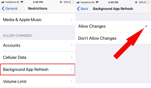 1 Backgroud App Refresh restriction on iPhone