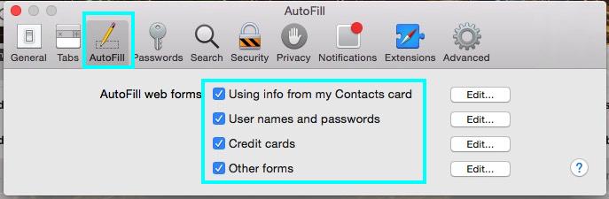 Remove different types of autofill settings on Safari
