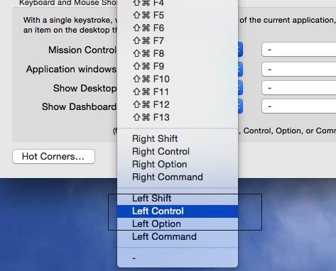 Set own mission control shortcuts