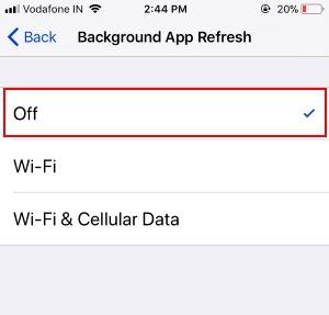 3 Turn off Backgroud app refresh on iPhone