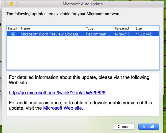 Start ready update for install on Mac