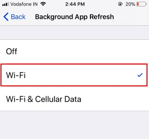 5 Turn on Backgroud app refresh on Wi-Fi Only on iPhone