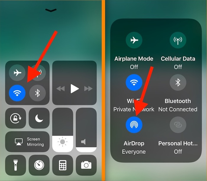6 Enable AirDrop on iOS 11 control center
