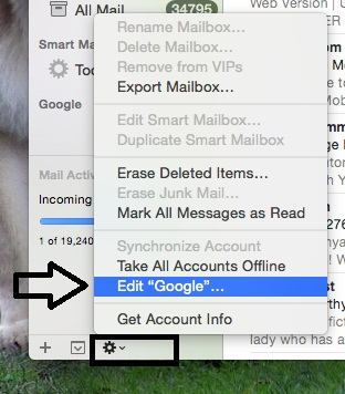 remove or Logout Gmail account from Mail app on Mac OS X