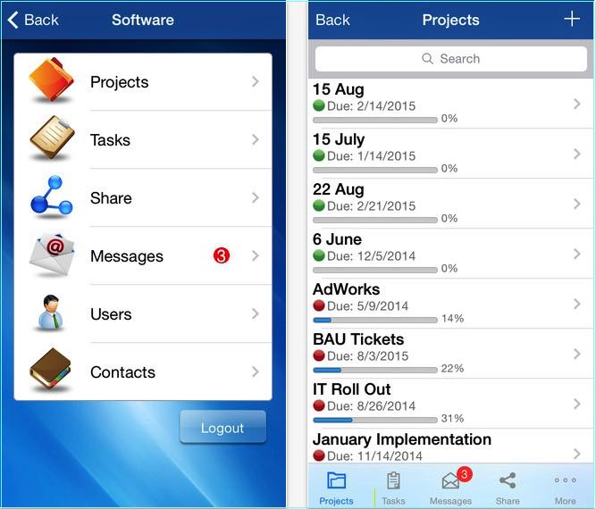 Manage project through iPhone app